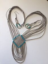 Vintage Sterling Silver Turquoise Western Necklace Set Collana Orecchini Argento