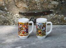 Vintage 2 x tasse mug Arcopal décor fête médiéval opaline