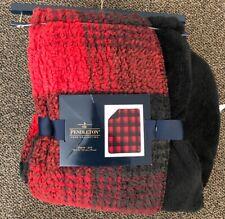 "NWT Pendleton Throw Red Buffalo Sherpa Black 50 x 70"" Plaid Blanket Reversible"
