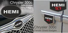 Chrysler 300c HEMI 5.7L badge set (grille, rear wing & fender shields)