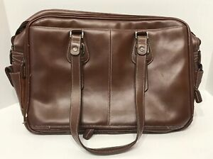 Leather Laptop Computer Travel Tote Bag Briefcase Franklin Covey Satchel Brown