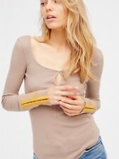 NWT Free People Mod Cuff Striped Thermal Top Shirt Fitted Taupe Yellow S