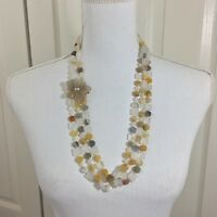 Multi-Strand Agate Quartz Vintage Necklace and Jade Sterling Silver Earrings