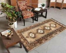 3x6 Oriental Vintage Hand Knotted Tradition Geometric Wool Brown Area Rug