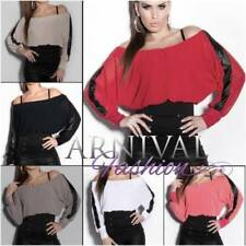 Regular Size Viscose Solid Long Sleeve Tops & Blouses for Women
