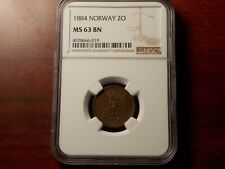 1884 Norway 2 Ore coin NGC MS-63