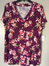 Croft & Barrow Women's XL Floral Banded V-Neck Purple Tee Top NWT