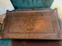 Antique Copper Tray Handled Heavy Patina Old Aged Rustic Monogrammed