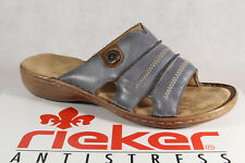 Rieker Mules Slippers Blue Leather 60876 New