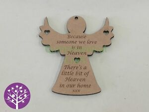 MDF Wood Memorial Angel Hanging Decoration Because someone we love is in Heaven