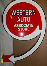 Western Auto Flange Sign, Heavy Steel Sign, Great Color and Shine