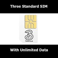Three 3 Network Sim Card With Unlimited Data / Internet To For All Smart Phones