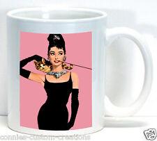 Audrey Hepburn Pink Breakfast At Tiffany's Vintage Movie Coffee Cup Ceramic Mug