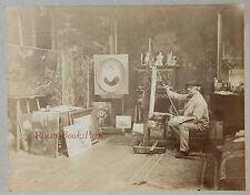 Peintre dans son atelier à identifier Vintage albumen albumine ca 1880