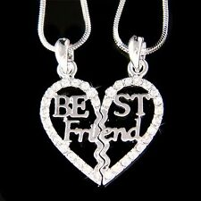 ~Best Friend Heart~ made with Swarovski Crystal 2 Chains Necklace Jewelry Gift