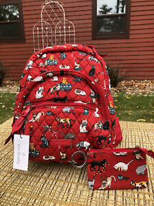 NWT~VERA BRADLEY~HOLIDAY CATS 🐈 ~Essential Compact Backpack W/ Zip ID~MEOW WOW!