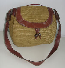 Made In Italy Genuine Leather Carry Tote Shoulder Cross Body Bag Purse Hay Straw