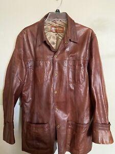 Mens L Saks Fifth Ave Vintage Leather Jacket Car Coat Brown Burgundy Gold Lined!