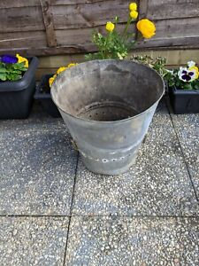 Vintage GALVANISED Bucket GARDEN  PLANTER FLOWERS HOLDER LOG HOLDER shabby chic