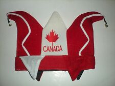 HAT TOQUE CAP JESTER'S RED WHITE CANADIAN CANADA DAY COSTUME BELLS FELT NEW