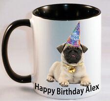 Cute Pug personalised mug cup puppy dog Happy Birthday Gift