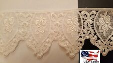 LOT 15  yards Ivory Rose Victorian Venice Venise Scalloped Edge Lace Trim 3""