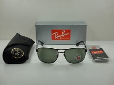 RAY-BAN POLARIZED SUNGLASSES RB3533 002/9A BLACK FRAME/GREEN CLASSIC LENS 57MM
