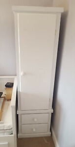 HANDMADE DEWSBURY NEXT SINGLE GENTS WARDROBE WITH 2 DRAWERS IN WHITE ASSEMBLED