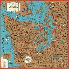 Midcentury Pictorial Map of Olympic Peninsula and Puget Sound Country Art Poster
