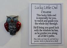 d Red LUCKY LITTLE OWL POCKET TOKEN CHARM good luck wisdom figurine grad ganz