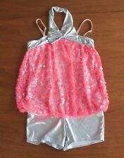 Weissman Dancewear Girls Medium Child MC Pink & Silver Sequin Biketard #7554