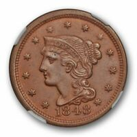 1848 Braided Hair Large Cent NGC MS 62 Uncirculated CAC Approved