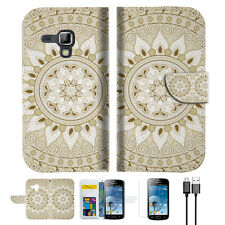 White AZTEC TRIBAL Wallet Case Cover For Samsung Galaxy Trend Plus-- A006