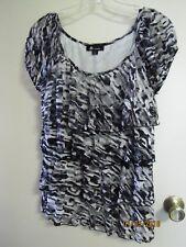 EUC AB STUDIO Ladies Black & White Tiered Cap Sleeve Ruffled Mesh Lined Blouse L