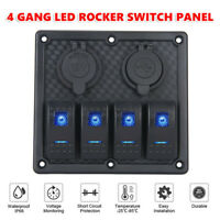 4 Gang Rocker Switch Panel Toggle for Car Boat Marine LED Dual USB ON-OFF   K