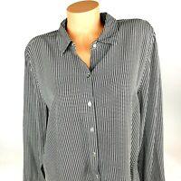 J Jill Womens Blouse Tunic Size L Large Black White Long Sleeve Button Front A28