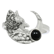 Wolf & Crescent Moon - Black Onyx - Brazil 925 Silver Ring Jewelry s.6.5 Br93597