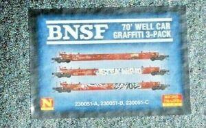 BNSF N Scale 3 Pack 70' Well Cars Weathered & Graffiti. Micro Trains Line. New.