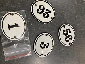 Enamel House Number Black & White Numbers 1-99