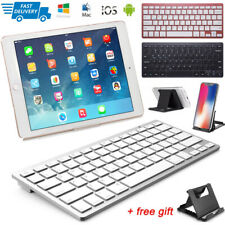 NEW Slim Wireless Bluetooth Keyboard+Stand For iMac iPad Android Phone Tablet PC