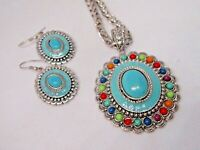 NAVAJO INDIAN TURQUOISE WESTERN SOUTHWEST PENDANT EARRING SET SILVER CHAIN FALL