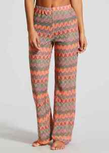 P BNWT Matalan Orange Green Zig Zag Crochet Lace Retro Beach  Trousers (CC)