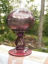 "Viking Art Glass Amethyst Flowerlite Vase w Flower Frog Vintage 7"" Pedestal Ivy"