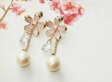 E779 Betsey Johnson Pink Pearl Daisy Flower Wedding Accessories Earrings US US