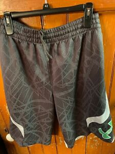 Under Armour Men's Gray, White, and Green Basketball Shorts Size Medium