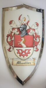 Custom Metal Knight Shield w. Family Coat of Arms Painting -  Heater Shield