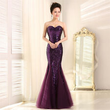 Sequins Strapless Mermaid Formal Evening Prom Dresses Bridesmaid Dress Gown Q260