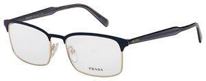 Prada Eyeglasses PR 54WV VH81O1 56 Matte Blue/Pale Gold Frame  [56-18-150]