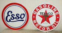 """2 Large Vintage Style 24"""" Texaco Esso Gas Station Signs Man Cave Garage"""