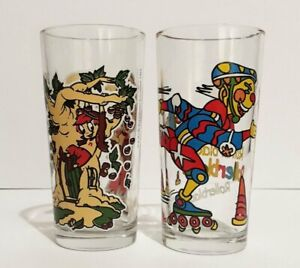 2 Collectable NUTELLA GLASSES Roller-blading Clown & The Nutricious Hazelnut